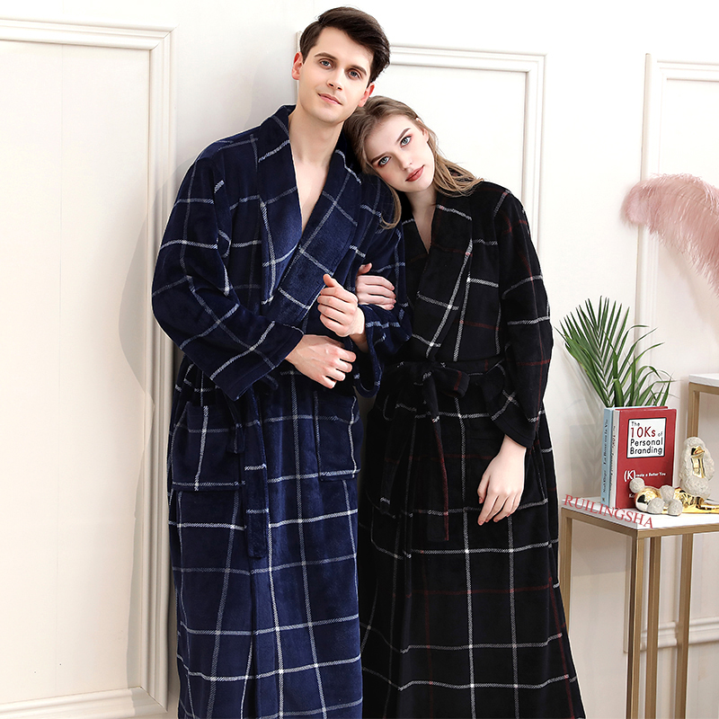 Women Winter Plaid Plus Size Long Flannel Bathrobe 40-130KG Warm Bath Robe Cozy Kimono Robes Dressing Gown Men Night Sleepwear