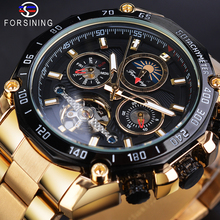 Forsining Tourbillon Mens Mechanical Watch Automatic Self Wind Moon Phase Date Male Golden Steel Strap Luxury Clock Reloj Hombre forsining 2016 fashion brand luxury leather strap dress automatic mechanical self wind men analog watch auto date for man watch