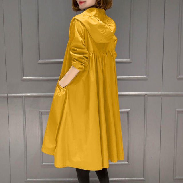 PEONFLY Fashion Women Solid Jacket Hoodie Long Coat Overcoat New 2019 Autumn Winter Plus Size Long Warm Hooded Jackets Yellow 5