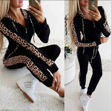Autumn Winter Fashion Tracksuit Women Splice Fleece Leopard Print Coat With Hood Two Pieces Set Hoodies Long Pants Suit(China)