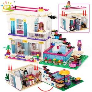 HUIQIBAO Pop Star Girl Livi's House Building Blocks Friends For Girls City Bricks set Educational Toys for children Blocks     -