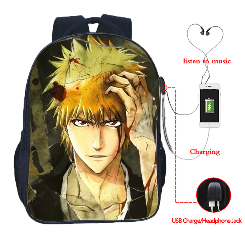 Beautiful bleach USB charging backpack men women boys girls fashion daily