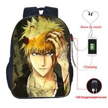Beautiful bleach USB charging backpack men women boys girls fashion daily