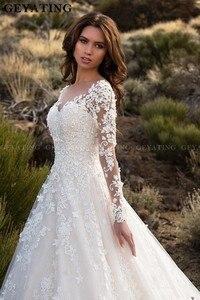 Image 2 - Vintage Dantel Balo düğün elbisesi es Uzun Kollu Aplikler 3D Çiçekler Backless gelinlikler Ülke Tarzı Uzun düğün elbisesi