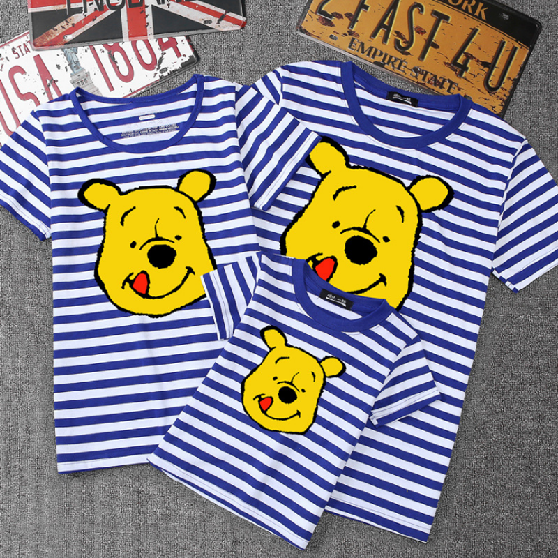 Summer Family Matching Outfits Mommy Daddy Kid Son Baby T-Shirt Shirts Family Clothes Child Winnie The Pooh Tops Photography