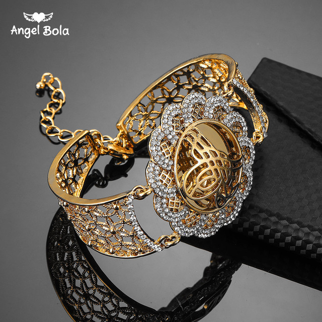 Cor do ouro do vintage flor larga manguito bangle muçulmano islam presente de casamento médio oriente jóias pulseiras árabe allah pulseira