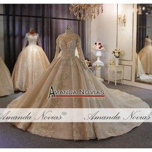 Image 3 - אמנדה Novias מותג חתונה שמלה באיכות גבוהה תחרה העבודה האמיתית דובאי שמלות כלה