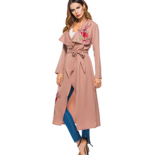 Long Coat Woman Clothes Elegant Trench Casual Embroidery Flower Turn-down Collar