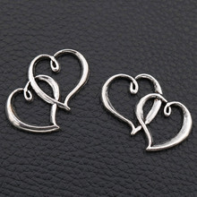 WKOUD/10pcs// A75 Antique Silver , Double Heart Pendant, 31*21mm Couple Connectors, Necklace & Bracelet Connector