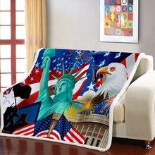 Звездные полосы флаг шерпа одеяло американский утяжеленное для