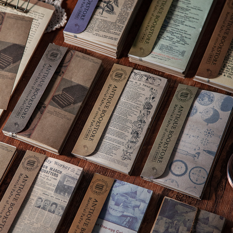 60 pièces Antique librairie série matériel papier indésirable Journal planificateur Scrapbooking Vintage décoratif bricolage artisanat fond papier