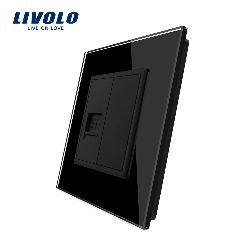 Livolo UK Standard New Style Black Crystal Glass Panel, 1 Gang Home Wall Sound TV Computer Acoustics Socket ,satv Telephone Plug