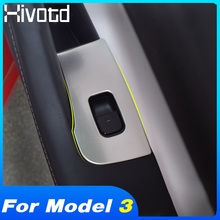 Hivotd For Tesla Model 3 2018 2019 Accessories Inner Door Armrest Window Lift Button Panel Cover Trim ABS Interior Mouldings tomefon for suzuki swift 2017 2018 2019 abs inner window shift armrest panel door handle catch cover trim air vent outlet 12pcs
