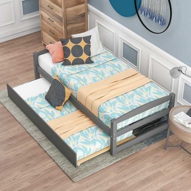 Wood Bed w/ Sliding Trundle Bed  3