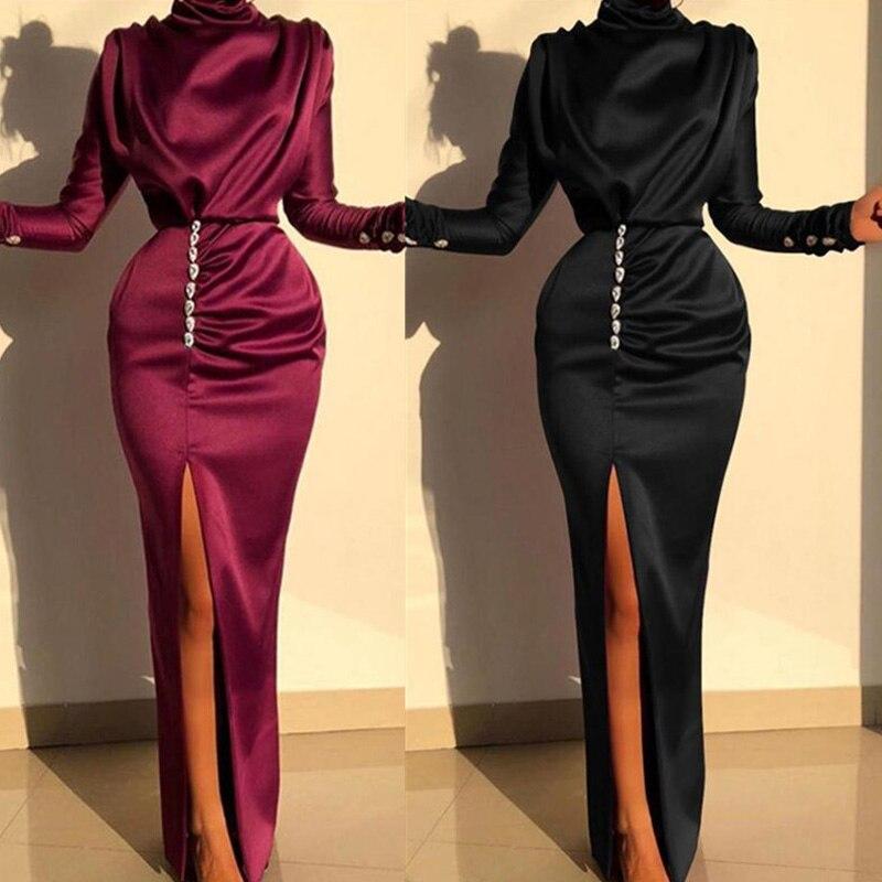 Long Sleeve Split Sexy Dress Spring Autumn Women Floor Skirts Fashion Party Elegant Waist Skirt Cothing Nightclub Clothes|Dresses| - AliExpress