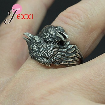 Punk Style Vintage Two Entwined Ravens Rings For Men Tibetan Silver Halloween Decoration Retro Jewelry Gift image