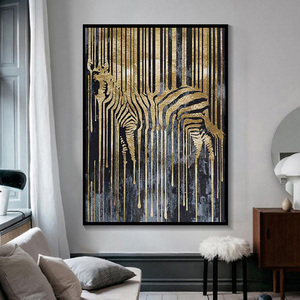 Abstract Zebra Posters and Prints Paint Golden Zebra Art Canvas Painting Wall Pictures Wall Art for Living Room Decor Cuadros