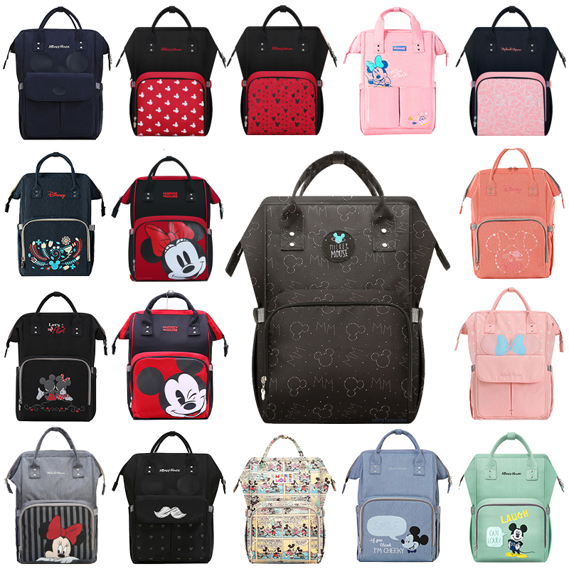 Disney Mummy Diaper Backpack USB Bottle Insulation Bags Minnie Mickey Mouse Big Capacity Travel Oxford Feeding Baby Care Handbag