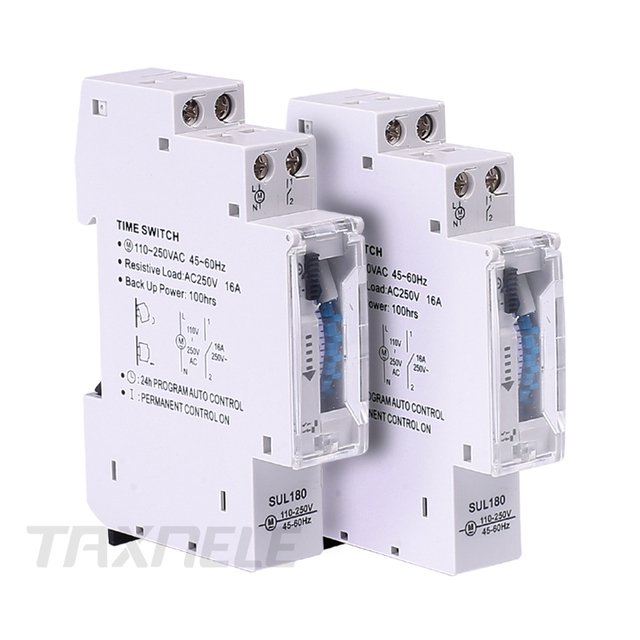 DIN Rail SUL180 Time Switch Mechanical Timer Switch 24 Hours Programmable Timer 16A Time Switch