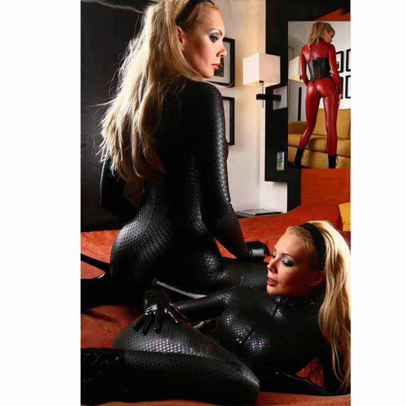 Plus Größe Latex Catsuit Ouvert Zipper Faux Leder Frauen Overall Wetlook Stretch PVC Bodys Dessous Fetisch Clubwear 4XL