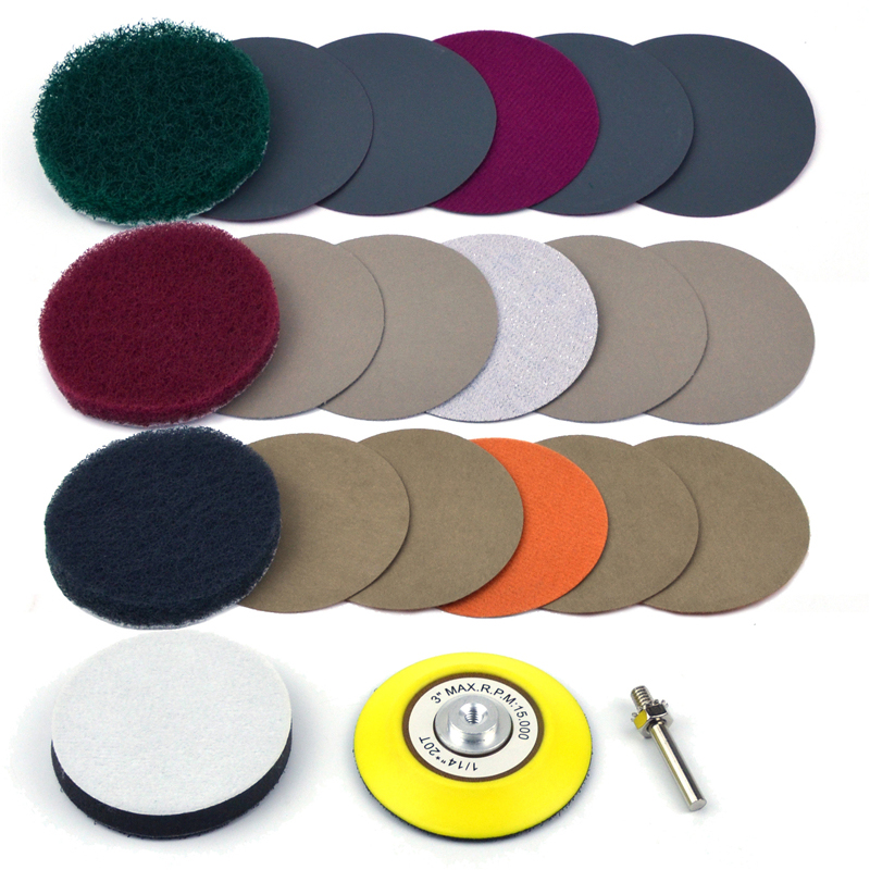 3 Inch DIY Car Lights Kit Polishing Restoration Car Headlights Repair Set P240 Mop Sanding Discs Pad M16 Drill Adapter Buffer