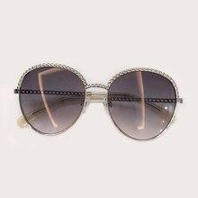 New Brand Designer Unique Chain Sunglasses 2019 Luxury Personality Handsome Elegant Women Men Sunglasses Oculos De Grau With Box