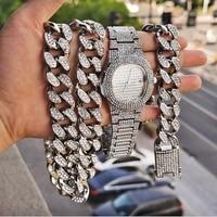 Hip Hop Männer und Frauen Mode Luxus 24K Gold/925 Silber Funkelnden Diamant Uhr Miami Kubanischen Armband Kubanischen halskette Schmuck