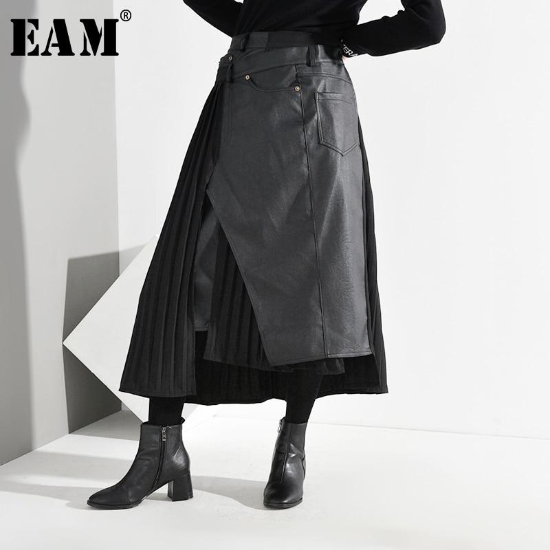 [EAM] High Elastic Waist Black Pu Leather Split Pleated Half-body Skirt Women Fashion Tide New Spring Autumn 2020 1K7310