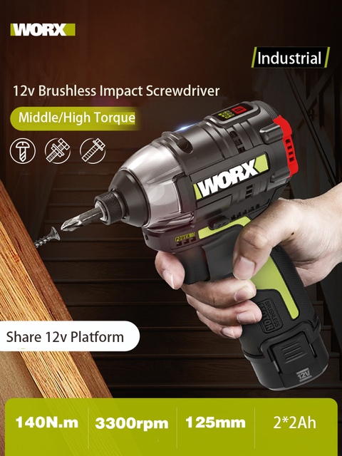 Worx 12v Brushless Motor Cordless Impact Screwdriver WU132 140Nm Adjust Torque professional tool With 2Battery And 1Charger 2