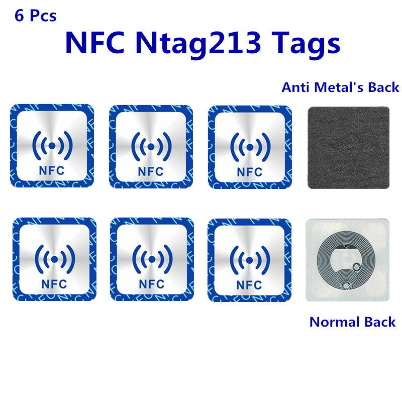 6PCS Universal <font><b>NFC</b></font> Ntag213 <font><b>Tags</b></font> Anti Metal <font><b>Sticker</b></font> NTAG 213 Metallic Badges Token Label for 13.56mhz RFID <font><b>NFC</b></font> IC reader Phones image
