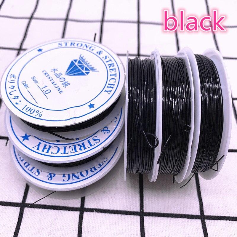 Черный гибкий эластичный шнур из кристаллов 0,6, 0,8, 1,0 мм, шнур для изготовления ювелирных изделий, бисерная проволока для браслетов, рыболовн...