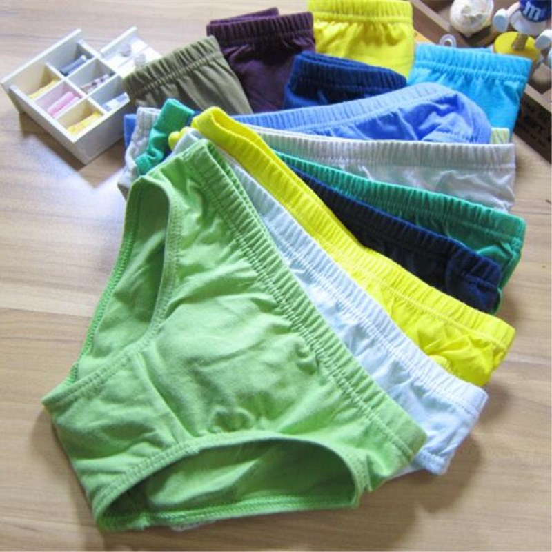 4pcs/Lot Solid Colors Boys Underwear Kids Briefs  Children Pants  Underwear Shorts  1-12Y 2