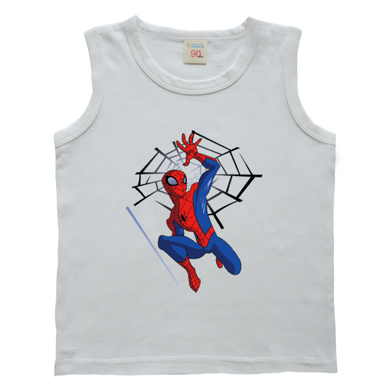 Baby Boys Girls Spiderman  Vest T-Shirt For Kids Cartoon Printing T Shirts  Children Cotton Undershirts Summer Clothing