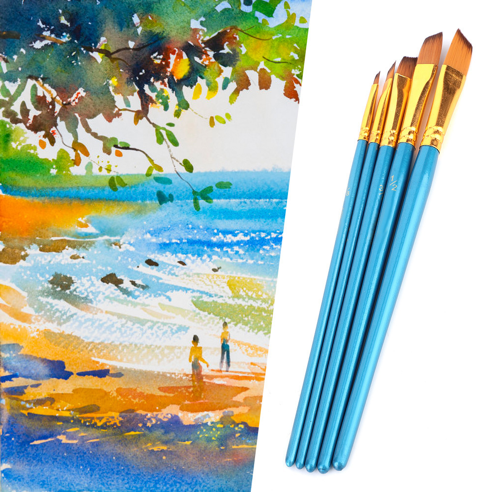 5pcs Painting Brush Nylon Hair Drawing Brushes Art Painting Set Tool Strong Water Absorption For Watercolor Painting