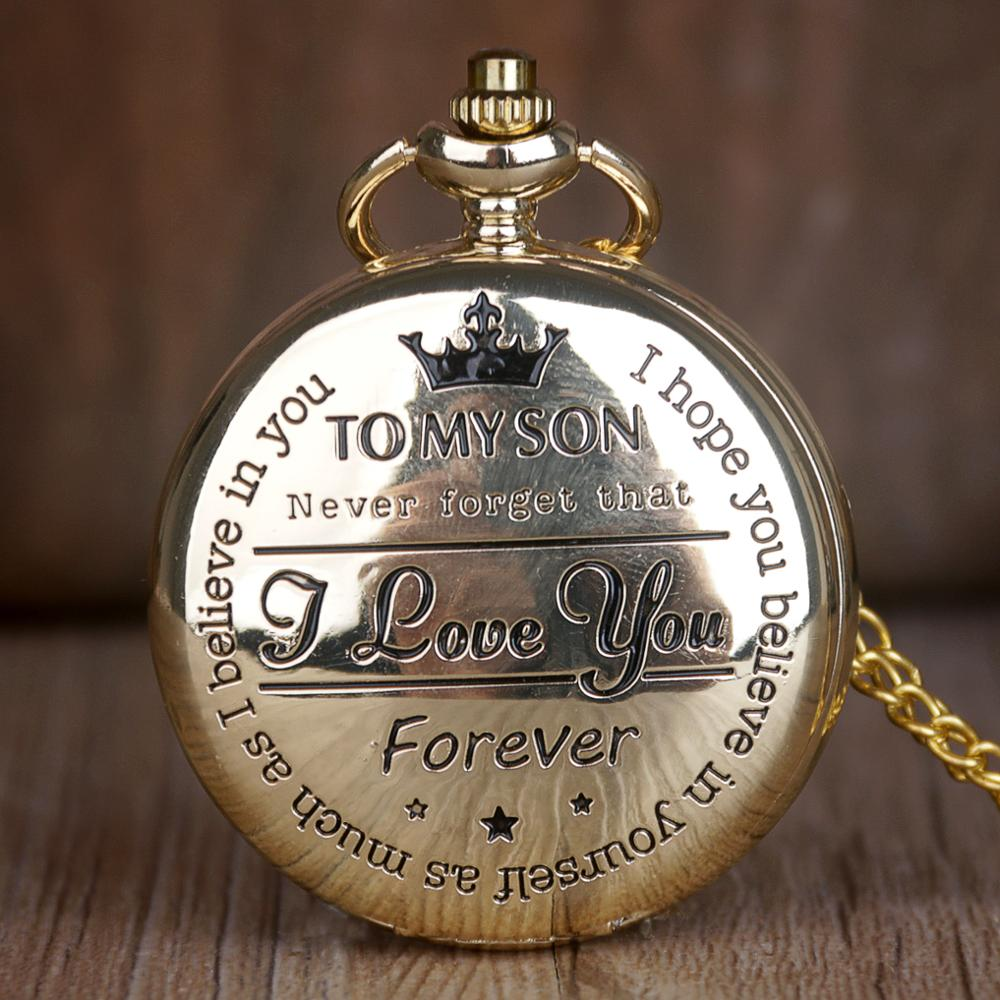 Pocket Watch Steampunk Gold Men Vintage Quartz Roman Numerals Pocket Watch 'TO MY SON' Boys Watch Gift Fob Watch With Chain