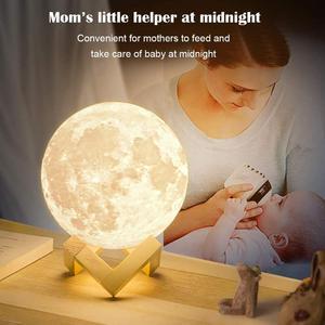 Лампа LEADLY в виде Луны, ночник в виде Луны, USB-зарядка, сенсорное управление, яркость, 3D печать, теплый и холодный белый лунный светильник