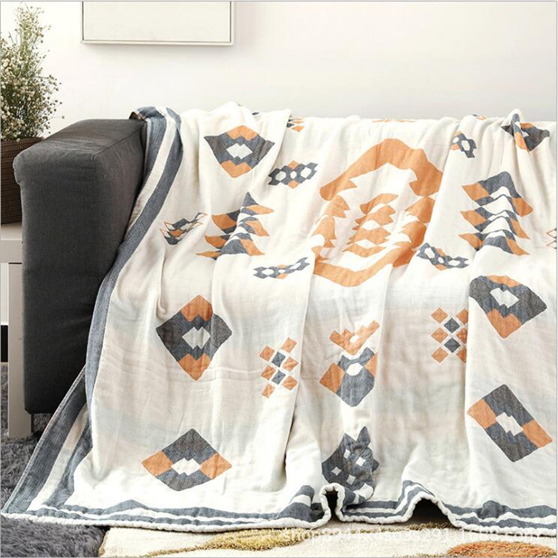 200*230cm Four Layers 100% Cotton Muslin Blanket Bed Sofa Travel Breathable Mandala Style Large Soft Throw Blanket Para Blanket