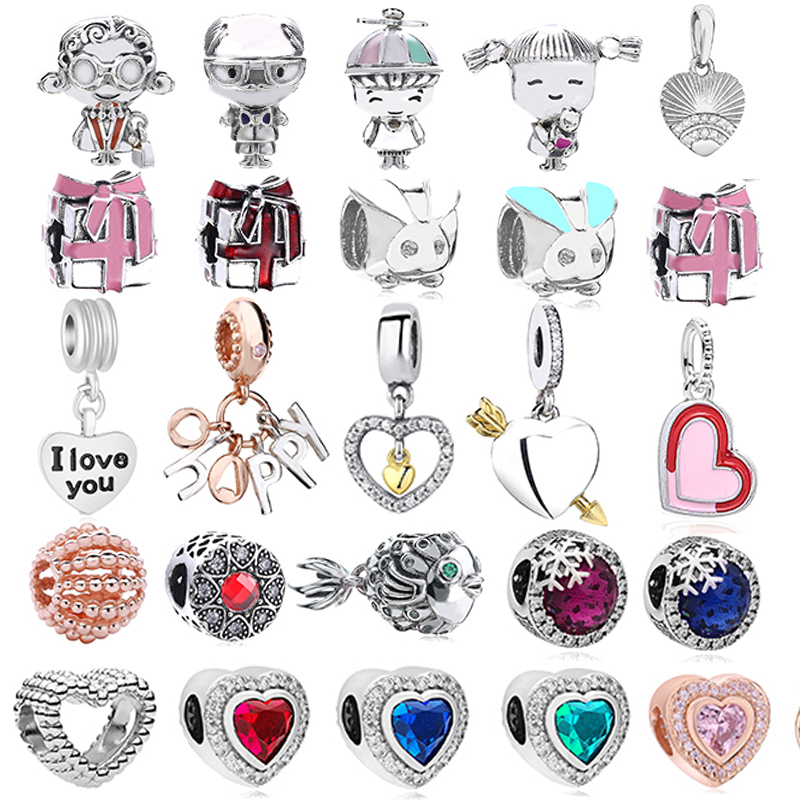 Посеребренные мальчики девочки микки Единорог шармы бусины Подвески подходят тонкие браслеты и ожерелье для женщин DIY любителей ювелирное ...
