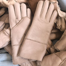 Prawdziwa owcza wełna skórzana rękawica jedno futrzane rękawice damskie zimowe ciepłe z futerkiem podszytym futrzana podszewka zamszowa tanie tanio LVCOMEFF WOMEN Prawdziwej skóry Dla dorosłych Rękawiczki