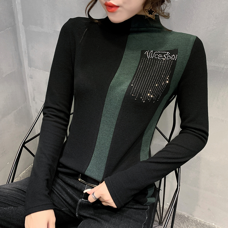 Fashion European Clothes Shiny Tees Sexy Color Blocking Diamonds T-shirt Women 2019 Autumn Winter Tops Bottoming Shirt T9N713