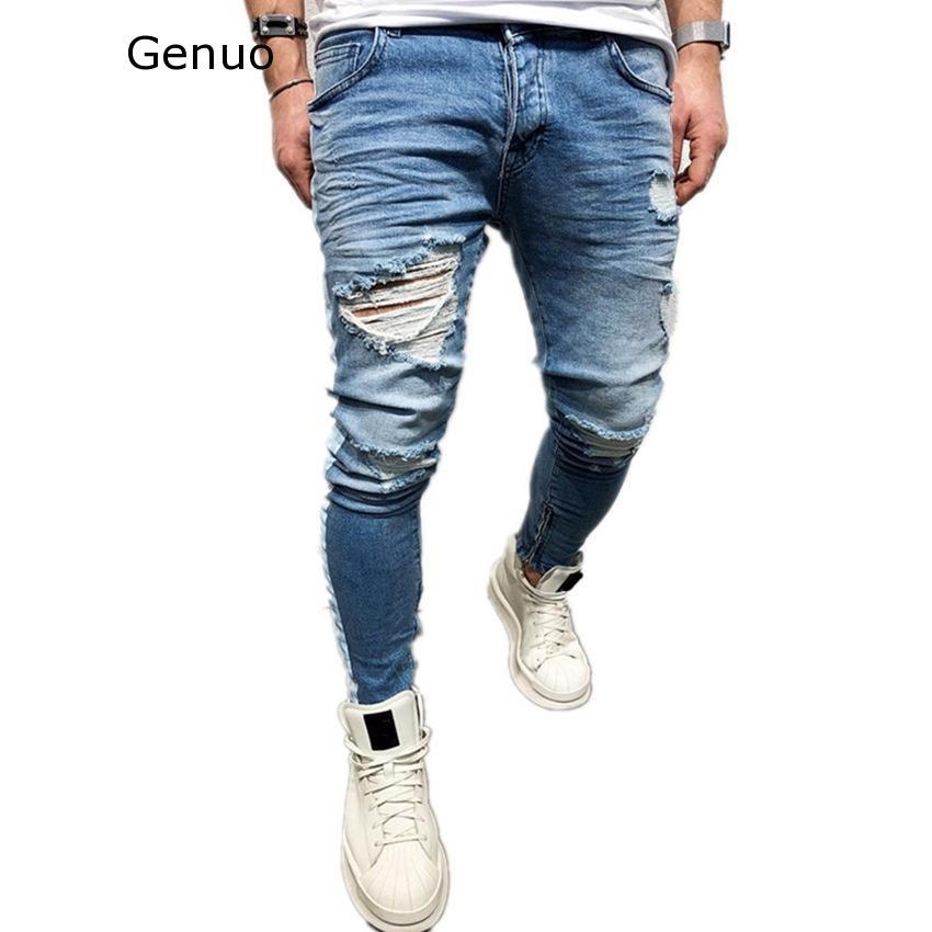 Genuo 2020 New Ripped Holes Men Jeans Side Striped Blue Jans Men Zipper Hip Hop Jeans Skinny Biker Jeans