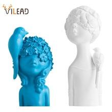 VILEAD 27cm 33cm Resin Bird Flower Girl Figurines Nordic Creative Character Statue Abstract Ornament Housewarming Gift Decor