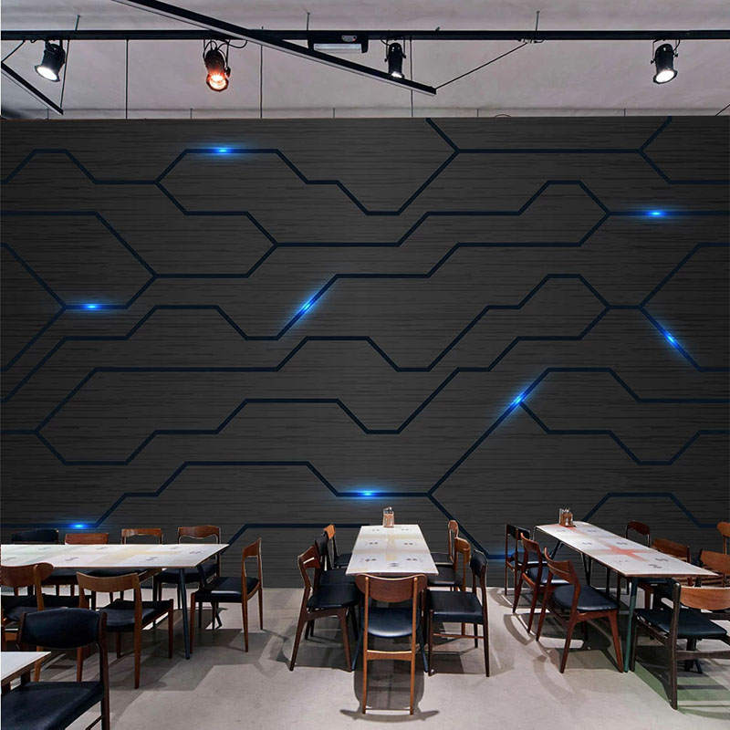 Custom Photo Wallpaper Modern Simple Technology Sense Fashion Circuit Diagram Black Murals Restaurant KTV Bar Creative Wallpaper