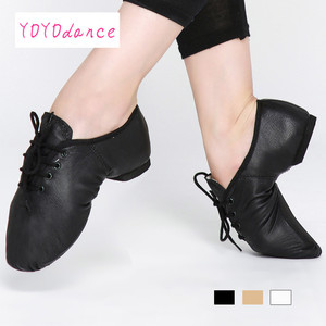Image 3 - Black Tan Lace Up Geniune Pig Leather Dancing Shoe From Children to Adult Quality Oxford Jazz Dance Shoes