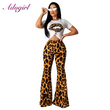 Adogirl Leopard Print Two Piece Set Women Casual Short Sleev