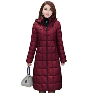 Image 1 - 2020 yeni kışlık ceketler kadın artı boyutu 4XL rahat kapşonlu sıcak pamuk yastıklı ceket kadın uzun şişme ceket kadınlar Parkas kabanlar