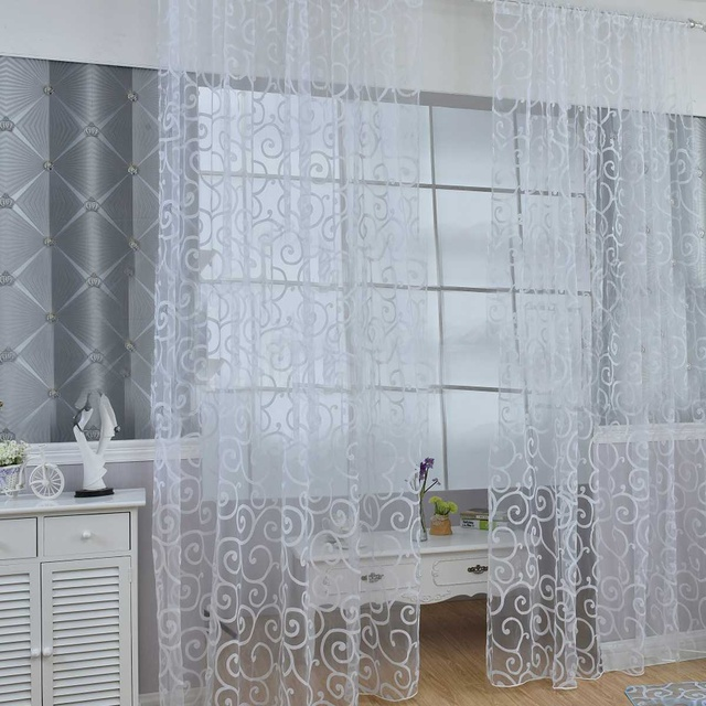 White Tulle Curtains for the Living Room Modern Sheer Curtain for Bedroom Kitchen Window 2