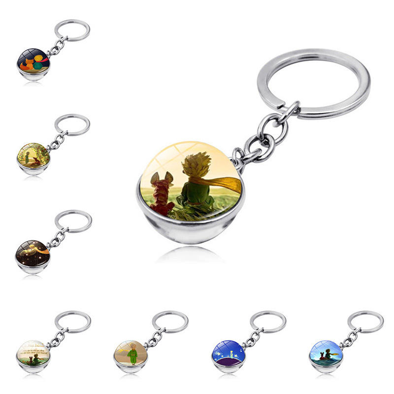 Le Petit Prince Jewelry Metal Key Chain Holder Keyring Little Prince Art Picture Double Sided Glass Ball Keychain Pendant