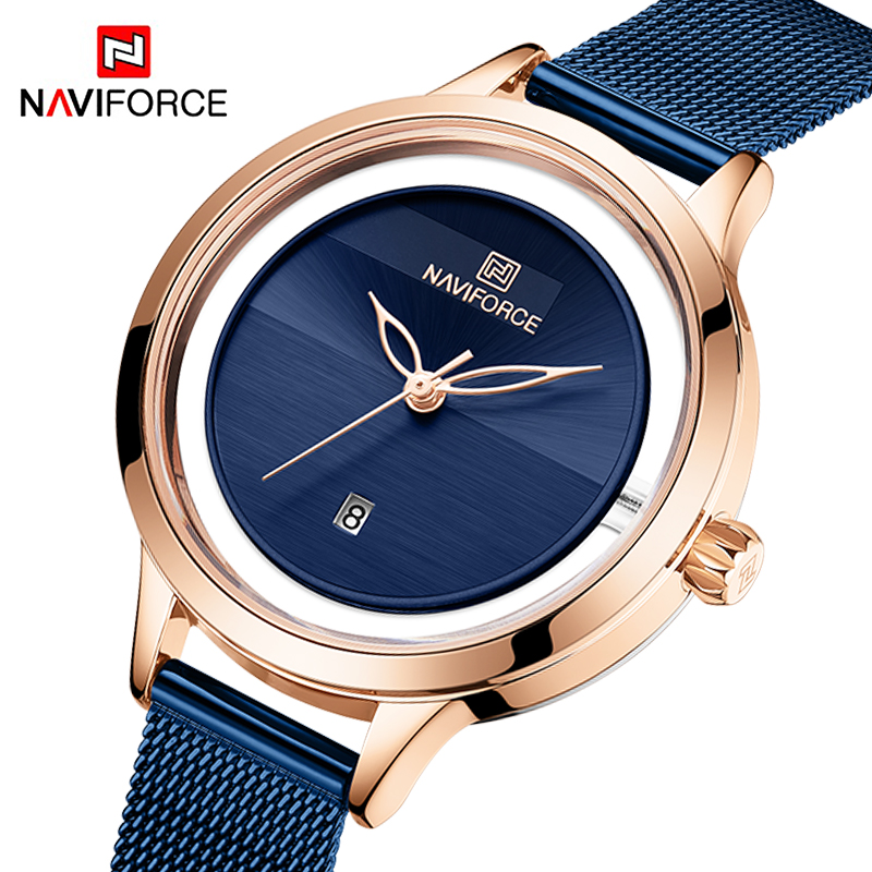 NAVIFORCE Womens Watches Ladies Business Casual Quartz Wristwatch Waterproof Stainless Steel Luxury Clock Girls Relogio Feminino
