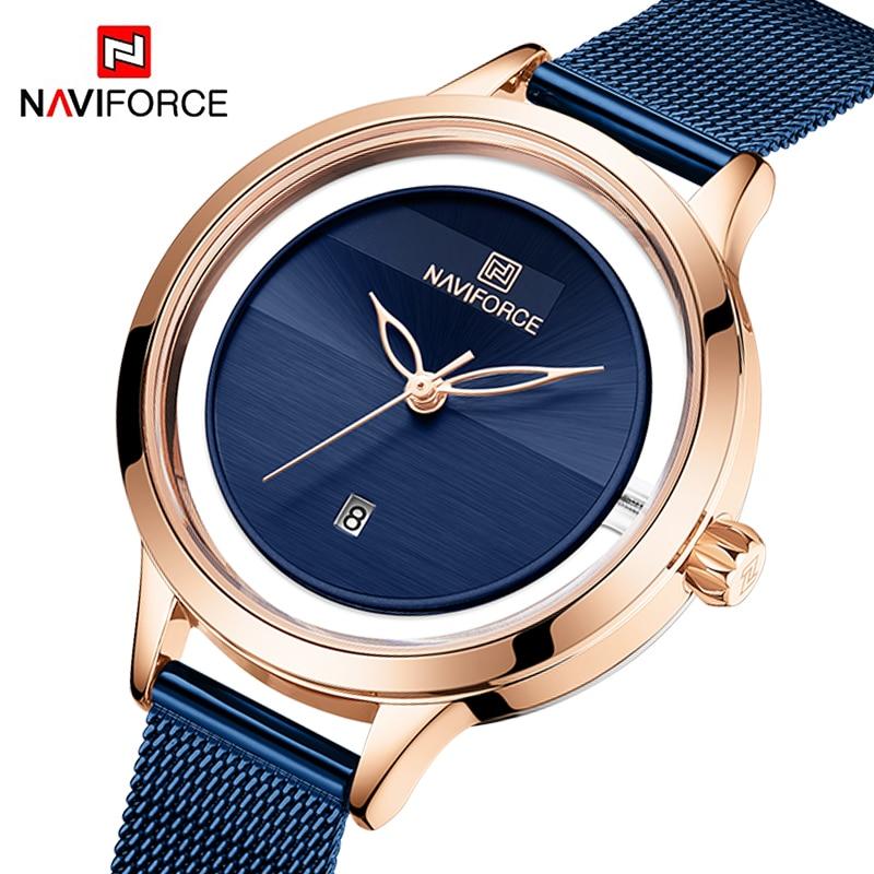 NAVIFORCE Womens Watches Ladies Business Casual Quartz Wristwatch Waterproof Stainless Steel Luxury Clock Girls Relogio Feminino